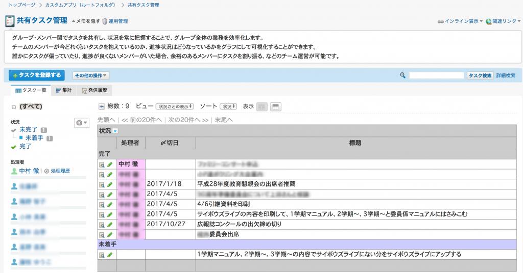 サイボウズOfficeの共有タスク管理